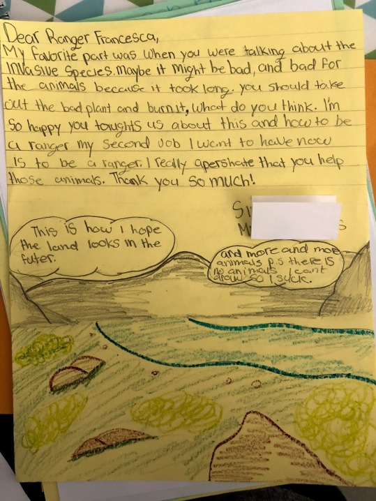 Example thank you letter to Ranger Francesca
