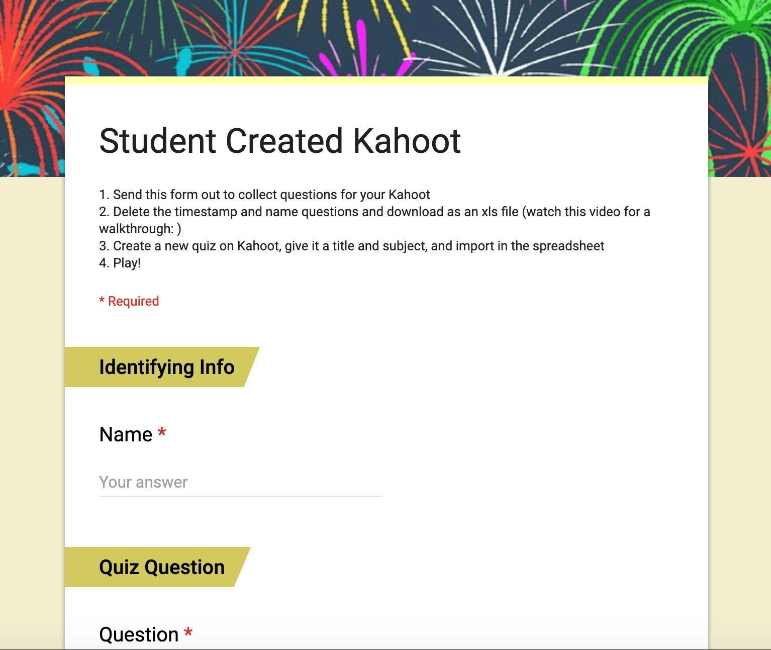 Student Created Kahoot Google Form
