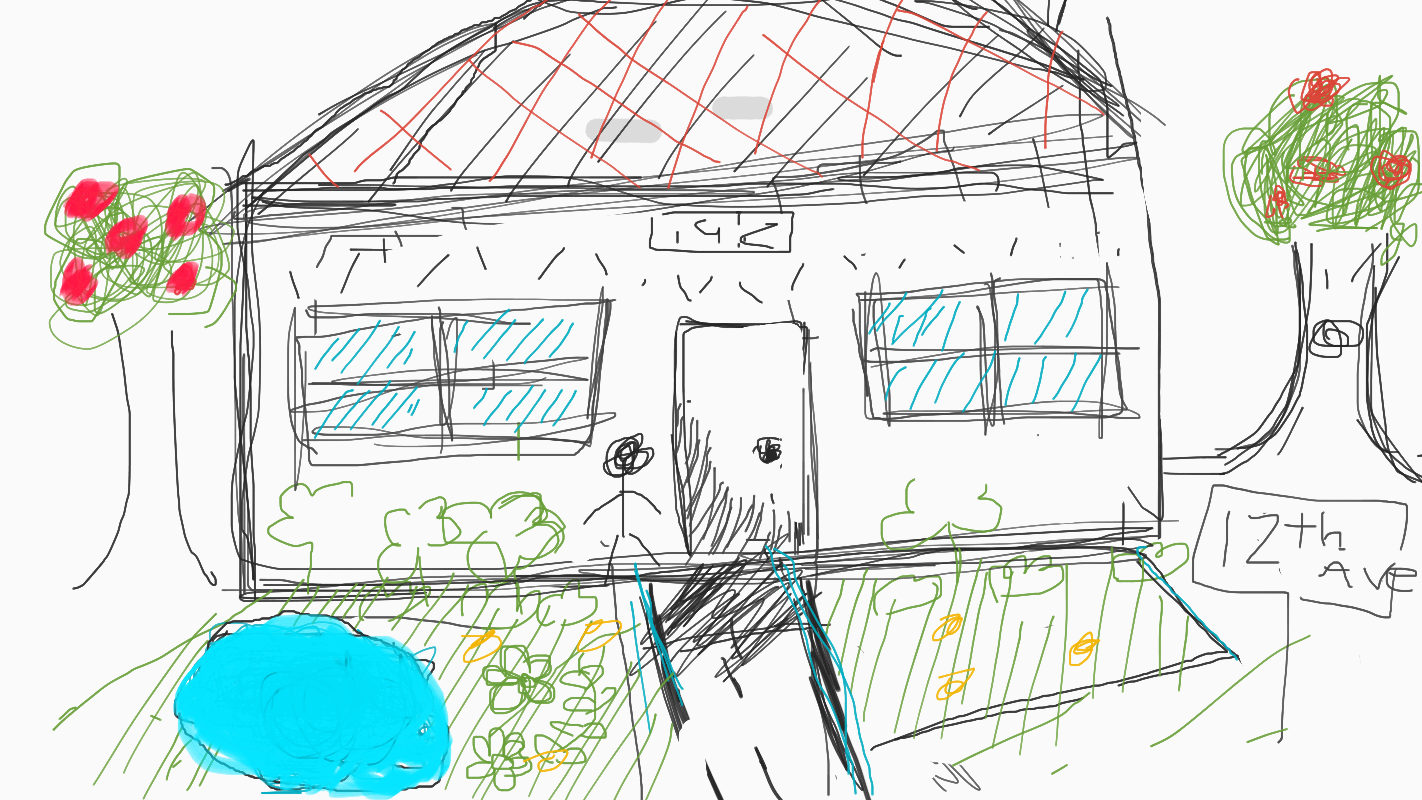 A collaborative sketch of a house created in Jamboard. There is a house with an apple tree on each side.